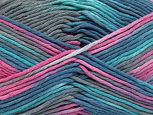 Fiber Content 100% Cotton, Turquoise, Pink, Brand Ice Yarns, Grey, Blue, Yarn Thickness 4 Medium  Worsted, Afghan, Aran, fnt2-64198