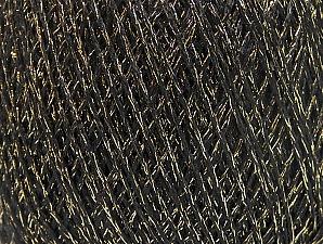 Fiber Content 75% Viscose, 25% Metallic Lurex, Brand Ice Yarns, Gold, Black, Yarn Thickness 2 Fine  Sport, Baby, fnt2-64381
