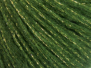 Fiber Content 67% Acrylic, 33% Metallic Lurex, Brand Ice Yarns, Green, Gold, fnt2-64415