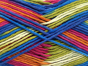 Fiber Content 100% Cotton, White, Pink, Orange, Brand Ice Yarns, Green, Blue, Yarn Thickness 4 Medium  Worsted, Afghan, Aran, fnt2-64456