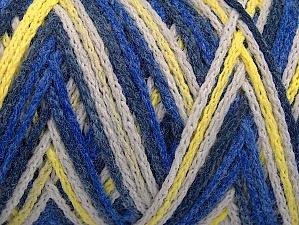 Fiber Content 50% Acrylic, 50% Polyamide, Yellow, White, Brand Ice Yarns, Blue Shades, Yarn Thickness 4 Medium  Worsted, Afghan, Aran, fnt2-64469