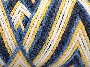 Fiber Content 50% Acrylic, 50% Polyamide, Yellow, White, Navy, Brand Ice Yarns, Blue, Yarn Thickness 4 Medium  Worsted, Afghan, Aran, fnt2-64470