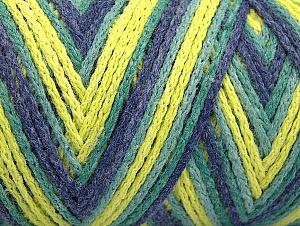 Fiber Content 50% Acrylic, 50% Polyamide, Neon Yellow, Jeans Blue, Brand Ice Yarns, Green Shades, Yarn Thickness 4 Medium  Worsted, Afghan, Aran, fnt2-64471