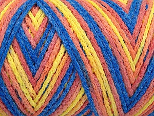 Fiber Content 50% Acrylic, 50% Polyamide, Yellow, Light Salmon, Brand Ice Yarns, Blue, Yarn Thickness 4 Medium  Worsted, Afghan, Aran, fnt2-64480