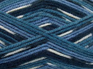 Fiber Content 50% Acrylic, 50% Wool, White, Brand Ice Yarns, Blue Shades, Yarn Thickness 4 Medium  Worsted, Afghan, Aran, fnt2-65203