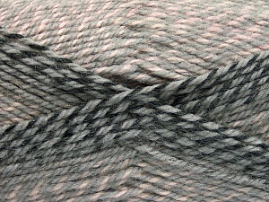 Fiber Content 50% Premium Acrylic, 50% Wool, Pink, Brand Ice Yarns, Grey Shades, Yarn Thickness 4 Medium  Worsted, Afghan, Aran, fnt2-65272