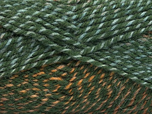 Fiber Content 50% Premium Acrylic, 50% Wool, Brand Ice Yarns, Green Shades, Brown Shades, Yarn Thickness 4 Medium  Worsted, Afghan, Aran, fnt2-65273
