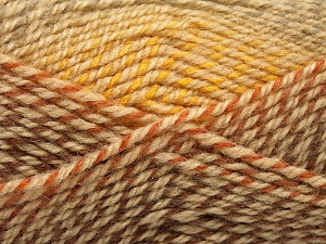 Fiber Content 50% Premium Acrylic, 50% Wool, Brand Ice Yarns, Gold, Brown Shades, Yarn Thickness 4 Medium  Worsted, Afghan, Aran, fnt2-65274