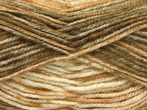 Fiber Content 50% Premium Acrylic, 50% Wool, Brand Ice Yarns, Brown Shades, Beige, Yarn Thickness 4 Medium  Worsted, Afghan, Aran, fnt2-65280