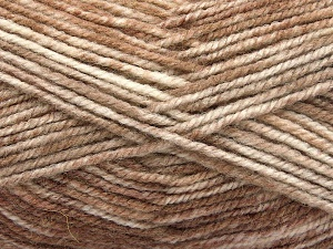 Fiber Content 50% Premium Acrylic, 50% Wool, Brand Ice Yarns, Cream, Camel, Beige, Yarn Thickness 4 Medium  Worsted, Afghan, Aran, fnt2-65281