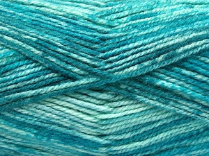 Fiber Content 50% Premium Acrylic, 50% Wool, Turquoise Shades, Brand Ice Yarns, Yarn Thickness 4 Medium  Worsted, Afghan, Aran, fnt2-65287