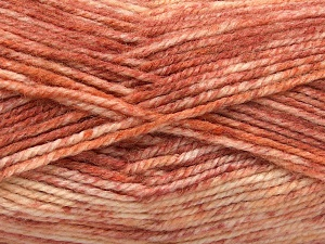 Fiber Content 50% Premium Acrylic, 50% Wool, Salmon Shades, Brand Ice Yarns, Yarn Thickness 4 Medium  Worsted, Afghan, Aran, fnt2-65293