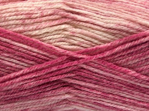 Fiber Content 50% Premium Acrylic, 50% Wool, Pink Shades, Brand Ice Yarns, Cream, Yarn Thickness 4 Medium  Worsted, Afghan, Aran, fnt2-65295