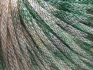 Fiber Content 62% Polyester, 19% Acrylic, 19% Merino Wool, Brand Ice Yarns, Green, Beige, Yarn Thickness 4 Medium  Worsted, Afghan, Aran, fnt2-65325