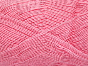 Very thin yarn. It is spinned as two threads. So you will knit as two threads. Yardage information is for only one strand. Fiber Content 100% Acrylic, Light Pink, Brand Ice Yarns, Yarn Thickness 1 SuperFine  Sock, Fingering, Baby, fnt2-65380