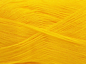 Very thin yarn. It is spinned as two threads. So you will knit as two threads. Yardage information is for only one strand. Fiber Content 100% Acrylic, Brand Ice Yarns, Gold, Yarn Thickness 1 SuperFine  Sock, Fingering, Baby, fnt2-65381