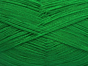 Very thin yarn. It is spinned as two threads. So you will knit as two threads. Yardage information is for only one strand. Fiber Content 100% Acrylic, Brand Ice Yarns, Green, Yarn Thickness 1 SuperFine  Sock, Fingering, Baby, fnt2-65384