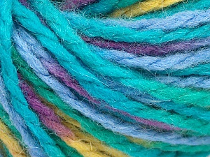 Fiber Content 50% Acrylic, 50% Wool, Turquoise Shades, Purple, Light Green, Brand Ice Yarns, Yarn Thickness 4 Medium  Worsted, Afghan, Aran, fnt2-65654