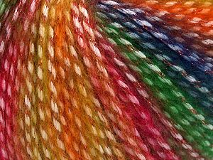 Fiber Content 40% Polyamide, 35% Acrylic, 15% Mohair, 10% Metallic Lurex, Red, Navy, Brand Ice Yarns, Green, Gold Shades, Yarn Thickness 3 Light  DK, Light, Worsted, fnt2-65807