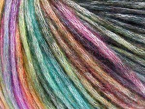 Fiber Content 50% Modal, 35% Acrylic, 15% Wool, Rainbow, Brand Ice Yarns, Black, Yarn Thickness 4 Medium  Worsted, Afghan, Aran, fnt2-65850