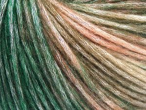 Fiber Content 50% Modal, 35% Acrylic, 15% Wool, Salmon Shades, Brand Ice Yarns, Green Shades, Yarn Thickness 4 Medium  Worsted, Afghan, Aran, fnt2-65851