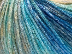 Fiber Content 50% Modal, 35% Acrylic, 15% Wool, Turquoise Shades, Brand Ice Yarns, Cream Shades, Yarn Thickness 4 Medium  Worsted, Afghan, Aran, fnt2-65854