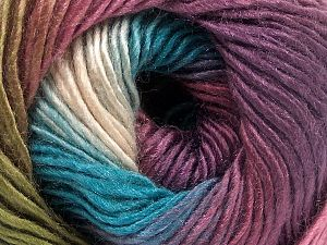 This is a self-striping yarn. Please see package photo for the color combination. Fiber Content 100% Premium Acrylic, Turquoise, Purple, Orchid, Brand Ice Yarns, Green, Yarn Thickness 3 Light  DK, Light, Worsted, fnt2-65919