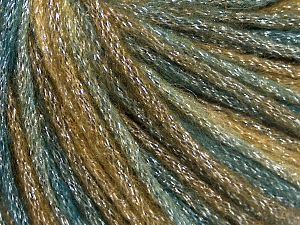 Fiber Content 40% Acrylic, 30% Wool, 30% Metallic Lurex, Teal, Khaki, Brand Ice Yarns, Brown, Yarn Thickness 4 Medium  Worsted, Afghan, Aran, fnt2-65932