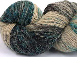 Please note that this is a hand-dyed yarn. Colors in different lots may vary because of the charateristics of the yarn. Also see the package photos for the colorway in full; as skein photos may not show all colors. Fiber Content 75% Super Wash Wool, 25% Polyamide, Turquoise, Brand Ice Yarns, Camel Shades, Black, Yarn Thickness 1 SuperFine  Sock, Fingering, Baby, fnt2-66003
