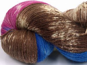Please note that this is a hand-dyed yarn. Colors in different lots may vary because of the charateristics of the yarn. Also see the package photos for the colorway in full; as skein photos may not show all colors. Fiber Content 75% Super Wash Wool, 25% Polyamide, Pink, Brand Ice Yarns, Cream, Brown, Blue, Yarn Thickness 1 SuperFine  Sock, Fingering, Baby, fnt2-66008