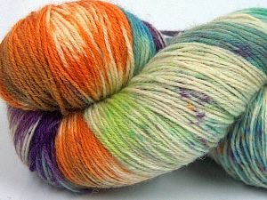 Please note that this is a hand-dyed yarn. Colors in different lots may vary because of the charateristics of the yarn. Also see the package photos for the colorway in full; as skein photos may not show all colors. Fiber Content 75% Super Wash Wool, 25% Polyamide, Purple, Orange, Brand Ice Yarns, Green Shades, Cream, Yarn Thickness 1 SuperFine  Sock, Fingering, Baby, fnt2-66012