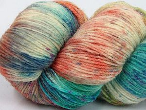 Please note that this is a hand-dyed yarn. Colors in different lots may vary because of the charateristics of the yarn. Also see the package photos for the colorway in full; as skein photos may not show all colors. Fiber Content 75% Super Wash Wool, 25% Polyamide, Turquoise, Purple, Orange, Brand Ice Yarns, Cream, Yarn Thickness 1 SuperFine  Sock, Fingering, Baby, fnt2-66018