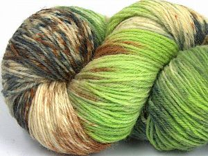 Please note that this is a hand-dyed yarn. Colors in different lots may vary because of the charateristics of the yarn. Also see the package photos for the colorway in full; as skein photos may not show all colors. Fiber Content 75% Super Wash Wool, 25% Polyamide, Brand Ice Yarns, Grey Shades, Green Shades, Brown, Yarn Thickness 1 SuperFine  Sock, Fingering, Baby, fnt2-66025
