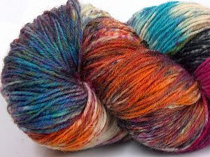 Please note that this is a hand-dyed yarn. Colors in different lots may vary because of the charateristics of the yarn. Also see the package photos for the colorway in full; as skein photos may not show all colors. Fiber Content 75% Super Wash Wool, 25% Polyamide, Turquoise, Orange, Brand Ice Yarns, Grey, Fuchsia, Cream, Yarn Thickness 1 SuperFine  Sock, Fingering, Baby, fnt2-66028