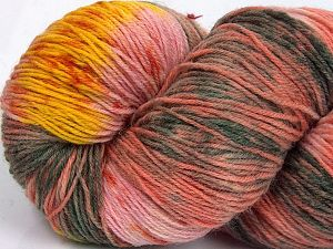 Please note that this is a hand-dyed yarn. Colors in different lots may vary because of the charateristics of the yarn. Also see the package photos for the colorway in full; as skein photos may not show all colors. Fiber Content 75% Super Wash Wool, 25% Polyamide, Yellow, Salmon Shades, Brand Ice Yarns, Grey Shades, Yarn Thickness 1 SuperFine  Sock, Fingering, Baby, fnt2-66030