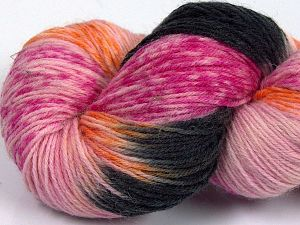 Please note that this is a hand-dyed yarn. Colors in different lots may vary because of the charateristics of the yarn. Also see the package photos for the colorway in full; as skein photos may not show all colors. Fiber Content 75% Super Wash Wool, 25% Polyamide, Pink Shades, Orange, Brand Ice Yarns, Black, Yarn Thickness 1 SuperFine  Sock, Fingering, Baby, fnt2-66034