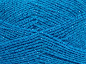 Fiber Content 94% Acrylic, 6% Metallic Lurex, Turquoise, Brand Ice Yarns, Yarn Thickness 3 Light  DK, Light, Worsted, fnt2-66067