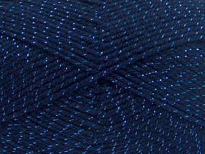 Fiber Content 94% Acrylic, 6% Metallic Lurex, Brand Ice Yarns, Dark Navy, Yarn Thickness 3 Light  DK, Light, Worsted, fnt2-66068