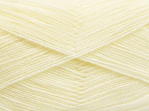 Very thin yarn. It is spinned as two threads. So you will knit as two threads. Yardage information is for only one strand. Fiber Content 100% Acrylic, Light Cream, Brand Ice Yarns, Yarn Thickness 1 SuperFine  Sock, Fingering, Baby, fnt2-66127