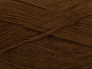 Very thin yarn. It is spinned as two threads. So you will knit as two threads. Yardage information is for only one strand. Fiber Content 100% Acrylic, Brand Ice Yarns, Brown, Yarn Thickness 1 SuperFine  Sock, Fingering, Baby, fnt2-66133