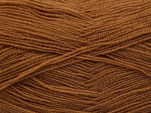 Very thin yarn. It is spinned as two threads. So you will knit as two threads. Yardage information is for only one strand. Fiber Content 100% Acrylic, Light Brown, Brand Ice Yarns, Yarn Thickness 1 SuperFine  Sock, Fingering, Baby, fnt2-66134