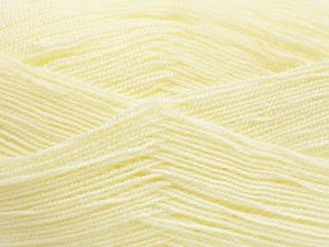 Very thin yarn. It is spinned as two threads. So you will knit as two threads. Yardage information is for only one strand. Fiber Content 100% Acrylic, Light Yellow, Brand Ice Yarns, Yarn Thickness 1 SuperFine  Sock, Fingering, Baby, fnt2-66145