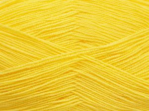 Very thin yarn. It is spinned as two threads. So you will knit as two threads. Yardage information is for only one strand. Fiber Content 100% Acrylic, Lemon Yellow, Brand Ice Yarns, Yarn Thickness 1 SuperFine  Sock, Fingering, Baby, fnt2-66147