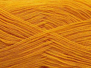 Very thin yarn. It is spinned as two threads. So you will knit as two threads. Yardage information is for only one strand. Fiber Content 100% Acrylic, Brand Ice Yarns, Gold, Yarn Thickness 1 SuperFine  Sock, Fingering, Baby, fnt2-66149