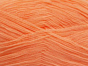 Very thin yarn. It is spinned as two threads. So you will knit as two threads. Yardage information is for only one strand. Fiber Content 100% Acrylic, Salmon, Brand Ice Yarns, Yarn Thickness 1 SuperFine  Sock, Fingering, Baby, fnt2-66152