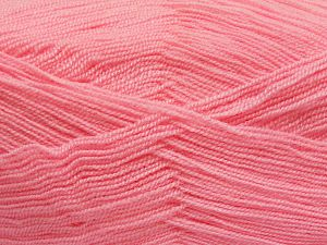Very thin yarn. It is spinned as two threads. So you will knit as two threads. Yardage information is for only one strand. Fiber Content 100% Acrylic, Light Pink, Brand Ice Yarns, Yarn Thickness 1 SuperFine  Sock, Fingering, Baby, fnt2-66162