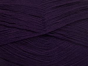 Very thin yarn. It is spinned as two threads. So you will knit as two threads. Yardage information is for only one strand. Fiber Content 100% Acrylic, Brand Ice Yarns, Dark Purple, Yarn Thickness 1 SuperFine  Sock, Fingering, Baby, fnt2-66175