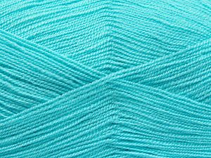 Very thin yarn. It is spinned as two threads. So you will knit as two threads. Yardage information is for only one strand. Fiber Content 100% Acrylic, Light Turquoise, Brand Ice Yarns, Yarn Thickness 1 SuperFine  Sock, Fingering, Baby, fnt2-66183