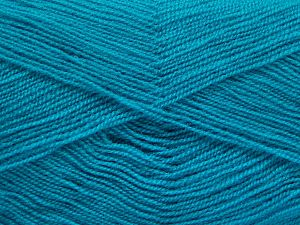 Very thin yarn. It is spinned as two threads. So you will knit as two threads. Yardage information is for only one strand. Fiber Content 100% Acrylic, Turquoise, Brand Ice Yarns, Yarn Thickness 1 SuperFine  Sock, Fingering, Baby, fnt2-66185