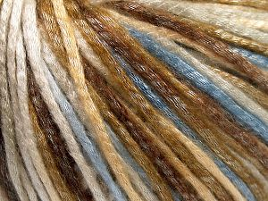 Tencel (Lyocell) is a form of rayon that consists of cellulose fiber made from beech and eucalyptus trees. Main characteristics of lyocell fibers are that they are sustainable, soft, absorbent, very strong when wet or dry, and resistant to wrinkles. Fiber Content 67% Tencel, 33% Polyamide, Light Blue, Brand Ice Yarns, Cream, Brown Shades, Yarn Thickness 4 Medium  Worsted, Afghan, Aran, fnt2-66207